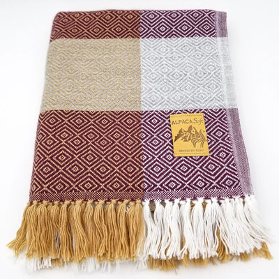 Plaid Wine/Ocher/Light Gray Alpaca Blanket