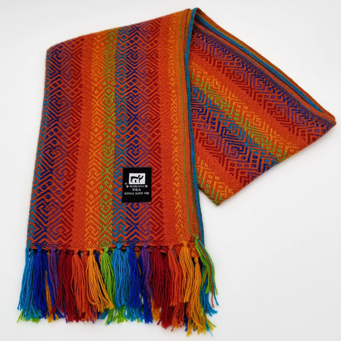 Orange Multicolor Alpaca Scarf