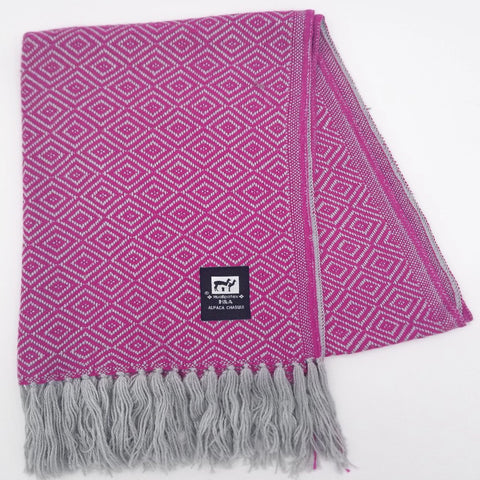 Fucsia/Light Gray Alpaca Scarf