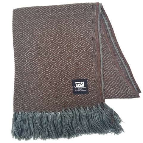 Brown/Dark Gray Alpaca Scarf