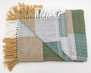 Plaid Green/Ocher/Light Gray Alpaca Blanket