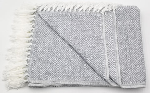 Light Gray/White Alpaca Blanket