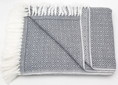 Dark Gray/White Alpaca Blanket
