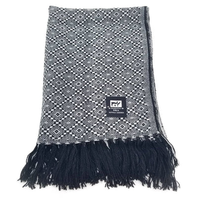 Black and White Alpaca Scarf