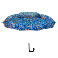 Van Gogh Irises Stick Umbrella Reverse Close