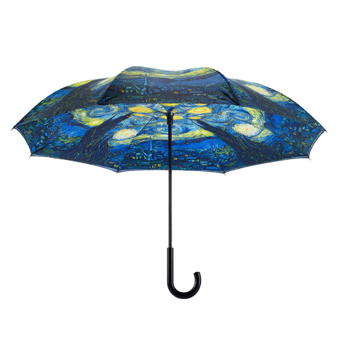 Picture of Starry Night Stick Umbrella Reverse Close