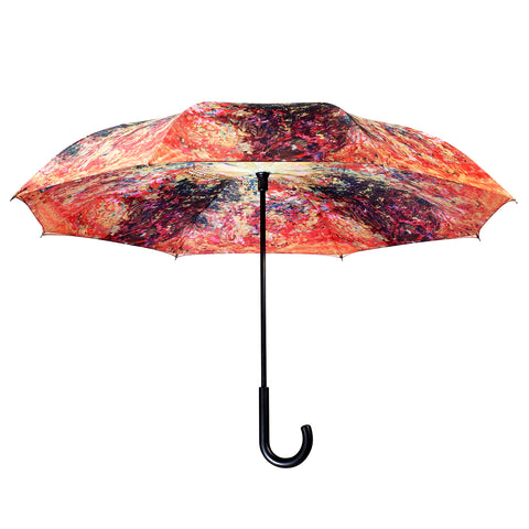 Picture of Monet, The Artist's House from the Rose Garden Stick Umbrella Reverse Close