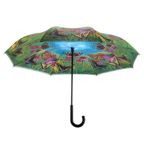 Picture of Butterfly Mountain  Stick Umbrella Reverse Close