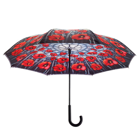 Picture of Stained Glass Poppies Stick Umbrella Reverse Close