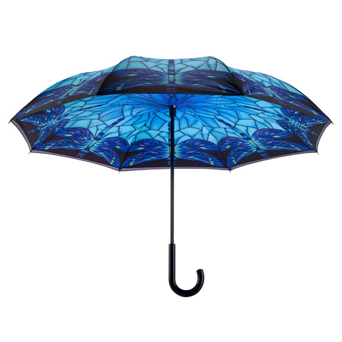 Picture of Stained Glass Dragonfly Stick Umbrella Reverse Close