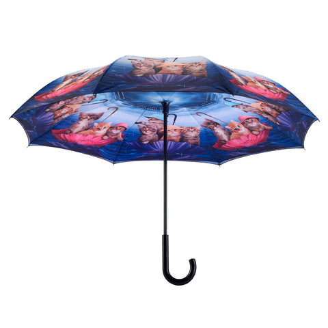 Picture of Kittens Ahoy Stick Umbrella Reverse Close