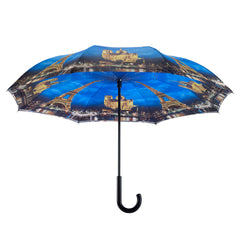 Paris-City of Lights Stick Umbrella Reverse Close