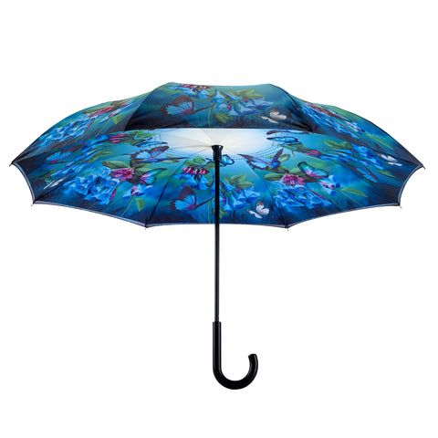 Picture of Bluebells Stick Umbrella Reverse Close