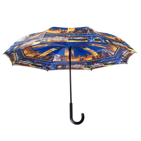 Picture of London at Night Stick Umbrella Reverse Close