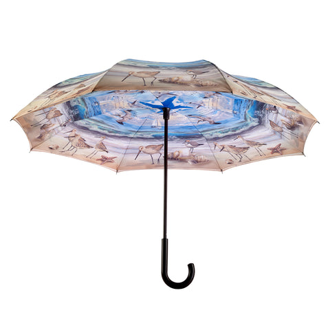 Picture of Beach Scene Stick Umbrella Reverse Close