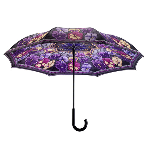 Picture of Stained Glass Pansies Stick Umbrella Reverse Close