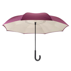 Purple/Cream Stick Umbrella Reverse Close