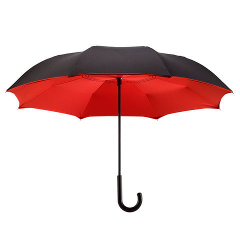 Picture of Black / Red Stick Umbrella Reverse Close