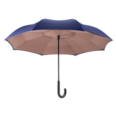 Navy/Camel Stick Umbrella Reverse Close