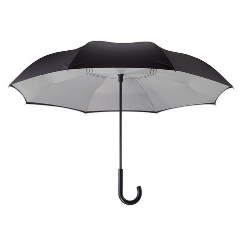 Picture of Black/Grey Stick Umbrella Reverse Close
