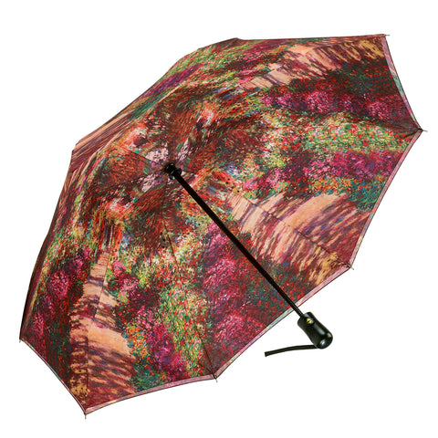 Picture of Monet, A Pathway in Monet's Garden Reverse Close Folding Umbrella
