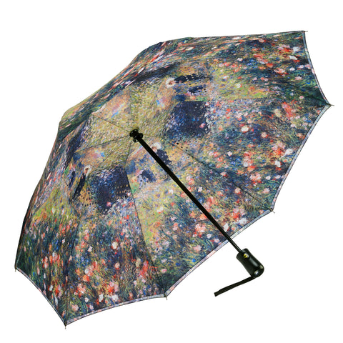 Picture of Renoir, Woman with a Parasol in a Garden Reverse Close Folding Umbrella