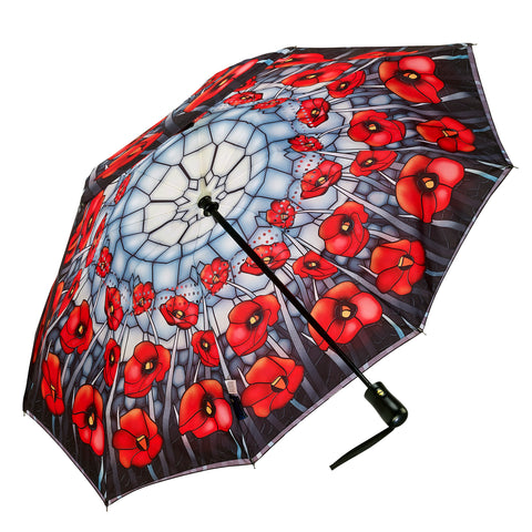 Picture of Stained Glass Poppies Reverse Close Folding Umbrella