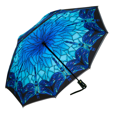 Picture of Stained Glass Dragonfly Reverse Close Folding Umbrella