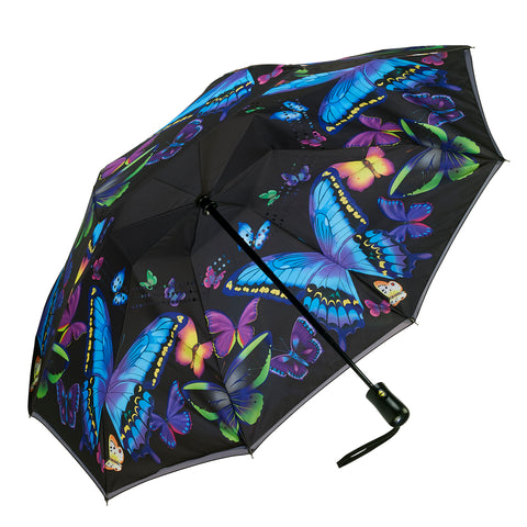 Picture of Moonlight Butterflies Reverse Close Folding Umbrella