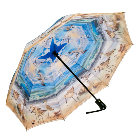 Picture of Beach Scene Reverse Close Folding Umbrella