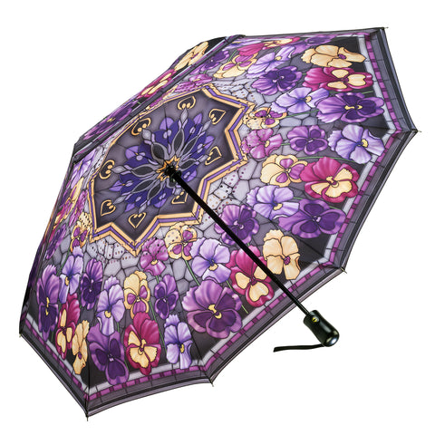 Picture of Stained Glass Pansies Reverse Close Folding Umbrella