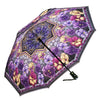 Stained Glass Pansies Reverse Close Folding Umbrella