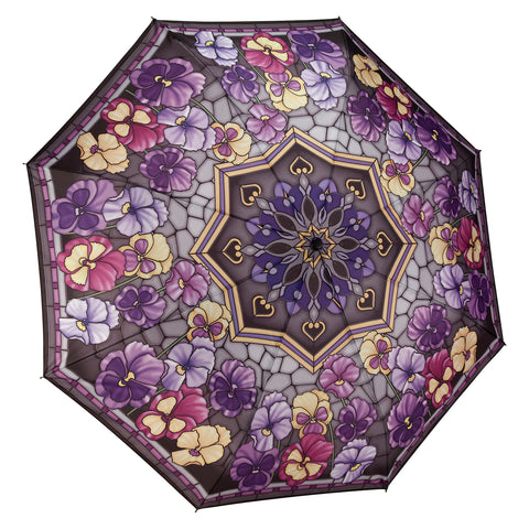 Picture of Stained Glass Pansies Folding Umbrella