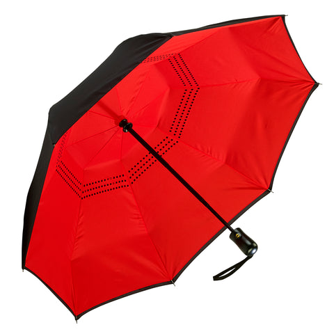 Picture of Black / Red Folding Umbrella Reverse Close