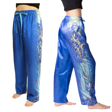 Picture of Van Gogh Irises-Satin Pajama Pants