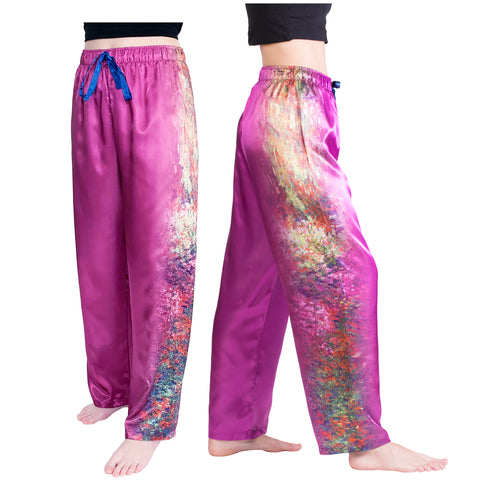 Picture of Pathway to Monets Garden-Satin Pajama Pants