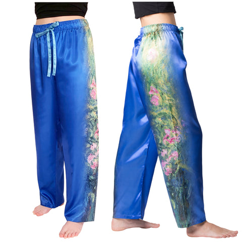 Picture of Irises by Monet-Satin Pajama Pants