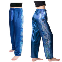 Monet Waterlilies and Reflection of a Willow Tree-Satin Pajama Pants