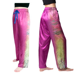 Monet Waterlilies at Sunset-Satin Pajama Pants