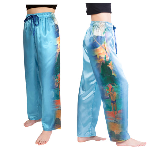 Picture of Gauguin Landscape with Peacock-Satin Pajama Pants