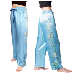 Monet Almond Blossom-Satin Pajama Pants