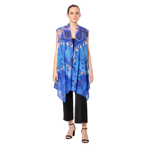 Picture of Laurel Burch Indigo Cats Sheer Vests
