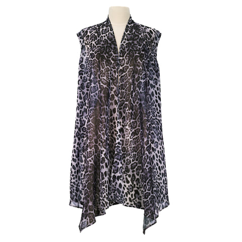 Picture of Leopard Skin Blk/Wht Sheer Long Vest