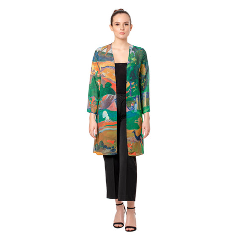 Picture of Gauguin Landscape with Peacocks Sheer Cardigan