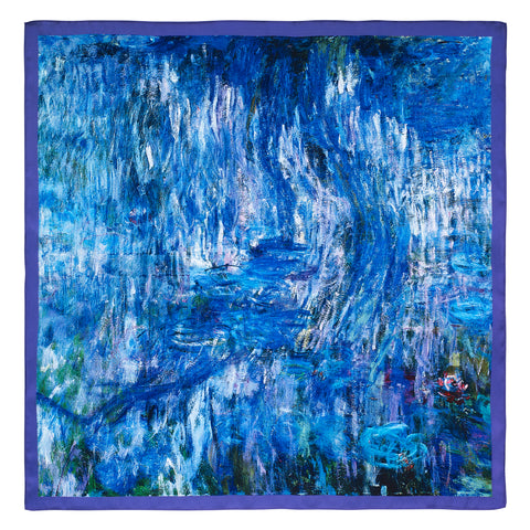 Picture of Waterlilies and Reflection of a Willow Tree Satin Chiffon Scarf