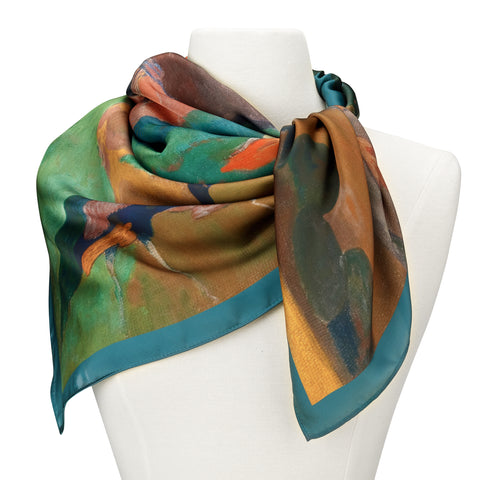 Picture of Gauguin Landscape with Peacock Square Satin Chiffon Scarf