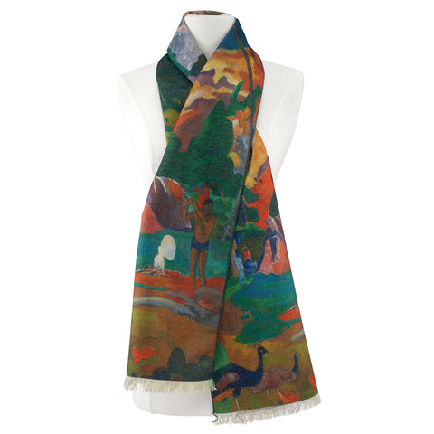 Picture of Gauguin Landscape with Peacock Viscose\Poly Scarf