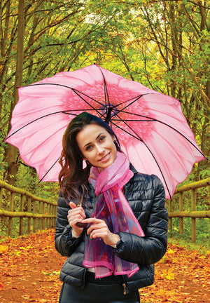 Pink Daisy Scarf with Coordinating Umbrella