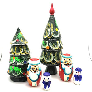 Set of 3 Cat with Balalaika Music Instrument Russian Nesting Dolls 3.5 Inches