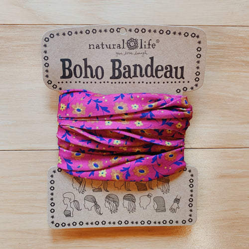 Full Boho Bandeau - Purple Golden Flowers